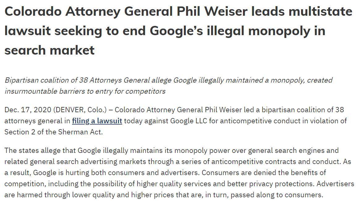 Googleを米38州が検索サービスでの独禁法違反で提訴 大型訴訟は10月から3件目 - ITmedia NEWS