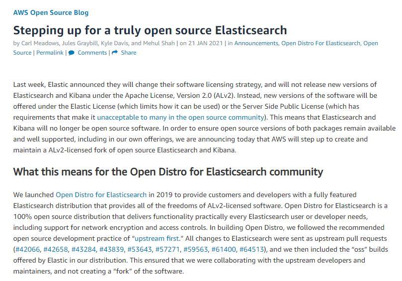 AWS、商用サービス化を制限するライセンス変更に対抗し「Elasticsearch」をフォーク 独自のオープンソース版へ(1/2 ページ) - ITmedia NEWS